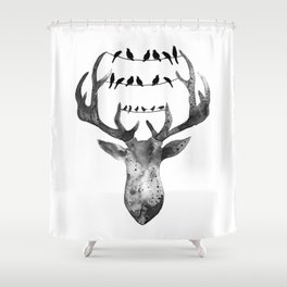 Deer with birds Shower Curtain