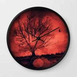 mars tree - tree silhouette in backlight Wall Clock