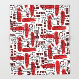 Gamer Lingo-White and Red Throw Blanket