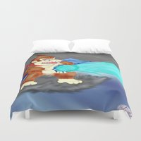 donkey kong Duvet Covers featuring Donkey Kong Super Kamehameha by Juiceboxkiller