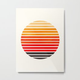 Orange Mid Century Modern Minimalist Scandinavian Colorful Stripes Round Circle Frame Metal Print