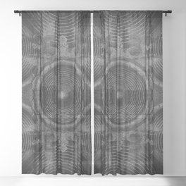 Black and white music speakers Sheer Curtain