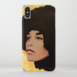 Feminist Angela Davis as a Young Black Lives Matter Activist for Panthers iPhone Case