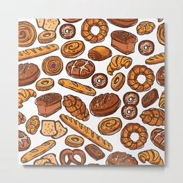 Bread Lovers. Croissant, Sandwich, French Loaf, Brown Bread, White Bread, Donuts, Cinnamon Roll Metal Print
