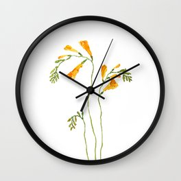 orange freesia watercolor Wall Clock