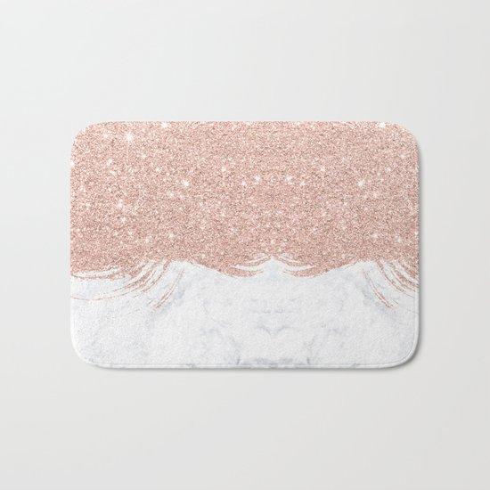 Trendy modern faux glitter rose gold brushstrokes white marble  Bath Mat