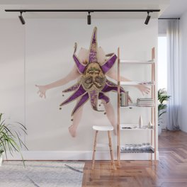 1434s-MM High Key Art Nude in Jester Mask Bending over Backwards Wall Mural