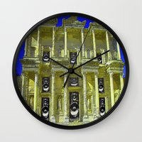 old school Wall Clocks featuring Old School by Nicholas Bremner - Autotelic Art