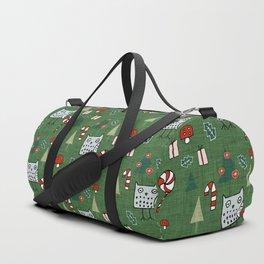 Christmas Owl Green #Christmas #Holiday Duffle Bag