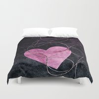 grunge Duvet Covers featuring Heart grunge  by VanessaGF