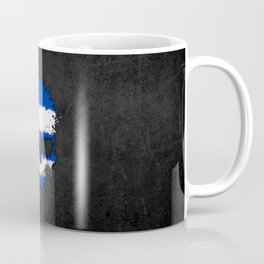 Flag of Cuba on a Chaotic Splatter Skull Coffee Mug