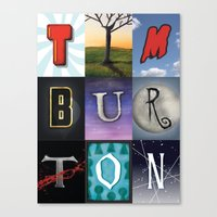 tim burton Canvas Prints featuring Tim Burton by Fallis Design