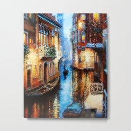 Venice Canal Digital Oil Painting Metal Print