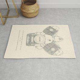Original technical drawing, italian motorcycle engine, retro garage sign, vintage mechanic Rug