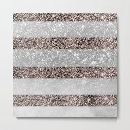 White Marble Rose Gold Glitter Stripe Glam #2 #minimal #decor #art #society6 Metal Print
