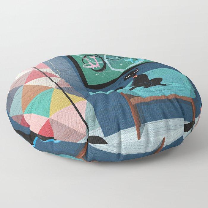 Creature Comforts Mid-Century Interior With Black Cat Floor Pillow