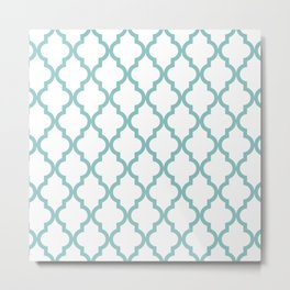 Chalky Blue Moroccan Pattern Metal Print