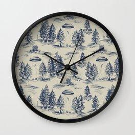Alien Abduction Toile De Jouy Pattern in Blue Wall Clock