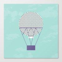 hot air balloon Canvas Prints featuring PURPLE HOT AIR BALLOON by Allyson Johnson