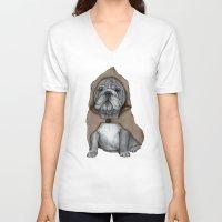 english bulldog V-neck T-shirts featuring English Bulldog in Stonehenge by Barruf