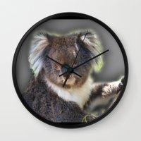 koala Wall Clocks featuring Koala by SwanniePhotoArt