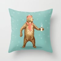 polar bear Throw Pillows featuring Polar Bear by Fresh Prints