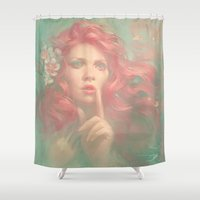meme Shower Curtains featuring MEME 014 Lydia by mushroomtale