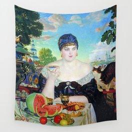 MERCHANT'S WIFE AT TEA - BORIS KUSTODIEV Wall Tapestry