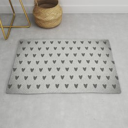 Grey Hearts Rug