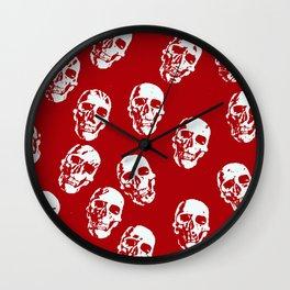 Hot Skulls, red white Wall Clock