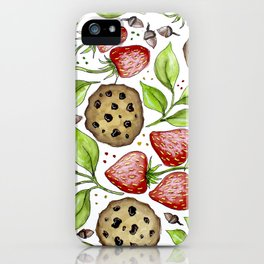 Strawberries and Cookies Design iPhone Case
