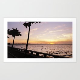 Sunset with palmtree Art Print
