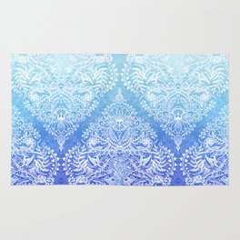 Out of the Blue - White Lace Doodle in Ombre Aqua and Cobalt Rug