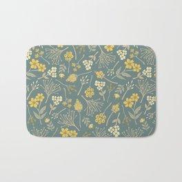 Yellow, Cream, Gray, Tan & Blue-Green Floral Pattern Bath Mat