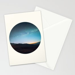 Mid Century Modern Round Circle Photo Graphic Design Mikey Way During Sunset Mountain Silhouette Stationery Cards