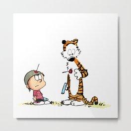 Calvin And Hobbes playing Metal Print