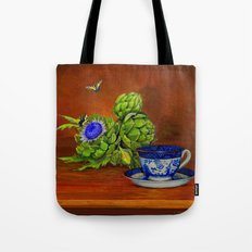 Teacup with Artichokes Tote Bag