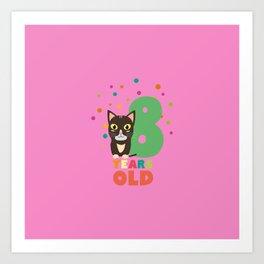 Eight Years 8th Birthday Party Cat T Shirt D14m7 Art Print