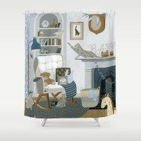 nursery Shower Curtains featuring Baby Animal Nursery by Yuliya
