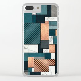 Random Pattern - Copper, Marble, and Blue Concrete Clear iPhone Case