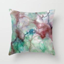 Colorful watercolor marble Throw Pillow