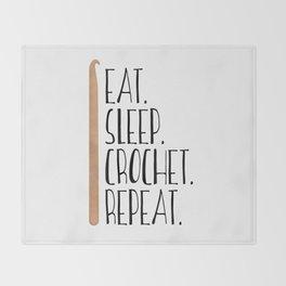 Eat Sleep Crochet Repeat Throw Blanket