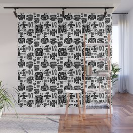 Aztec black and white pattern Wall Mural