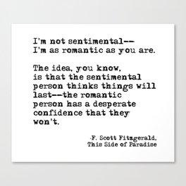 The romantic person - F Scott Fitzgerald Canvas Print