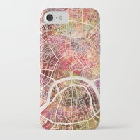 moscow iPhone & iPod Cases featuring Moscow Map by MapMapMaps.Watercolors