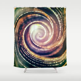 Hypnotic Gold and Green Abstract Shower Curtain