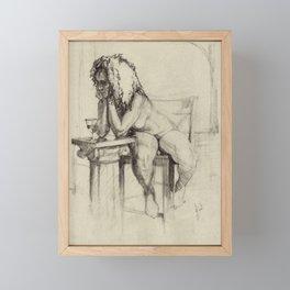 'The Unwinding' Charcoal Drawing Nude woman drinking Wine Framed Mini Art Print