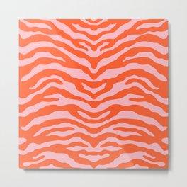 Zebra Wild Animal Print Orange and Pink Metal Print