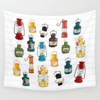 nautical Wall Tapestries featuring nautical lanterns by oleynikka