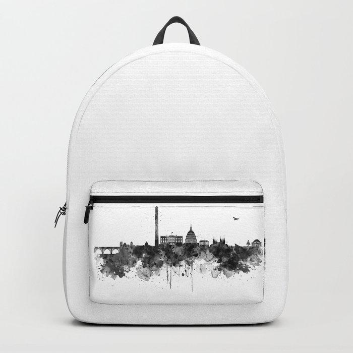 Washington DC Skyline Black and White Backpack